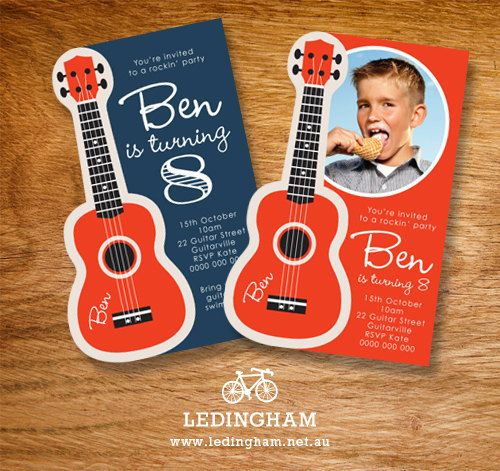 Guitar Birthday Party Invitations (Personalised Printables