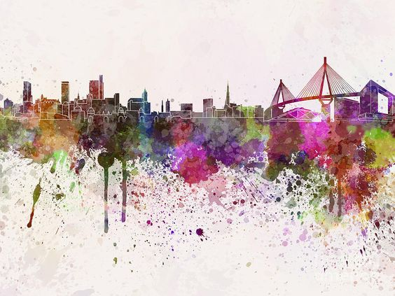 hamburg skyline in watercolor background painting hamburg pinterest wasserfarben. Black Bedroom Furniture Sets. Home Design Ideas