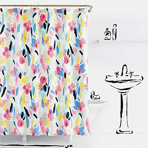 Kate Spade Paintball Floral Shower Curtain Floral Shower