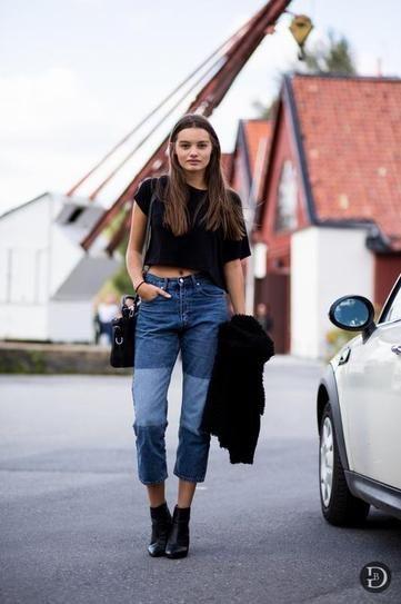 Αποτέλεσμα εικόνας για patchwork denim jeans with ankle boots