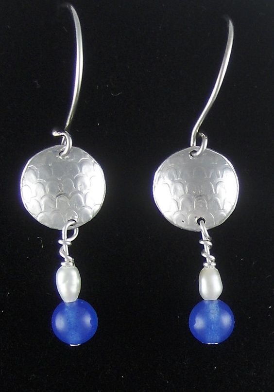 Animal print silver discs w/ silver wire wrap fresh water Pearls and bright blue beautiful Sri Lanka Sapphires.  Beautiful!  Brings wealth. by charsdesignsjewelry. Explore more products on http://charsdesignsjewelry.etsy.com
