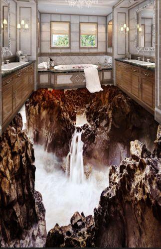 Details about  /3D Waterfall Mountain 3 Floor WallPaper Murals Wall Print Decal 5D AJ WALLPAPER