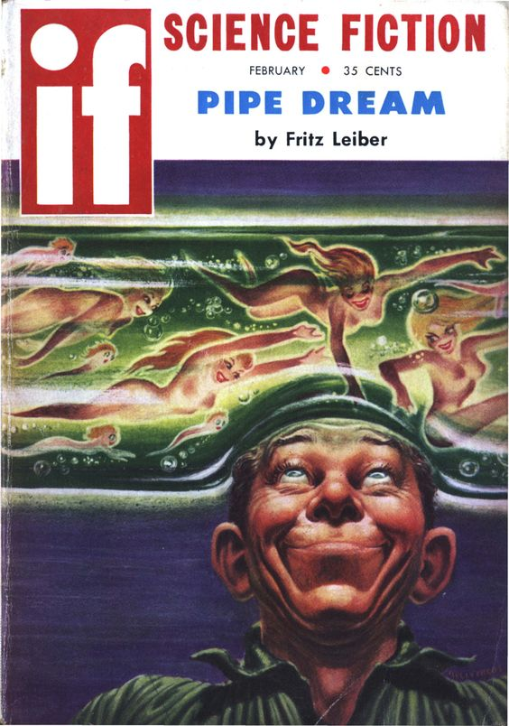 "If vol 9 no 2, February 1959. Cover art by Kelly Freas illustrating ""Pipe Dream"" by Fritz Leiber."