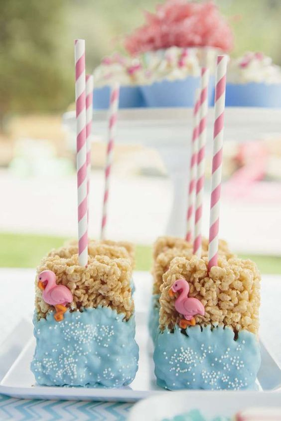 Rice Krispie treats at a flamingo birthday party! See more party ideas at CatchMyParty.com!: