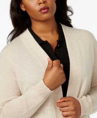 Charter Club Plus Size Cashmere Duster Cardigan, Created for Macy's - Tan/Beige 0X