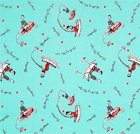 This listing is for 1/2 yard of Hooked on You from Michael Miller Fabrics.   Color: Aqua  Content: 100% Cotton  Width: 44   Additional yardage may
