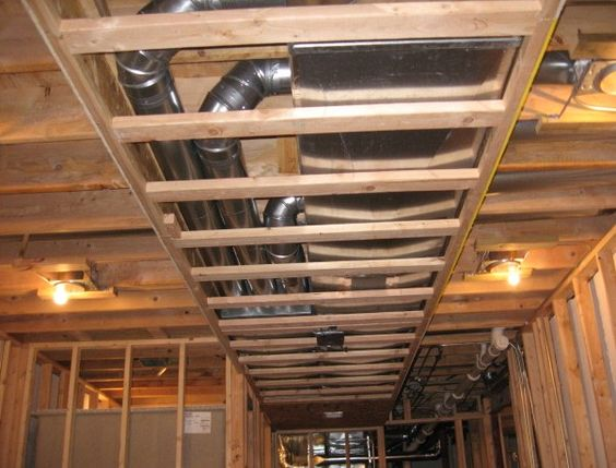 Duct Work Covering Basement Wall Construction