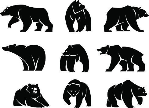 Nine Separate Figures Of Bears Illustration D Ours Silhouette