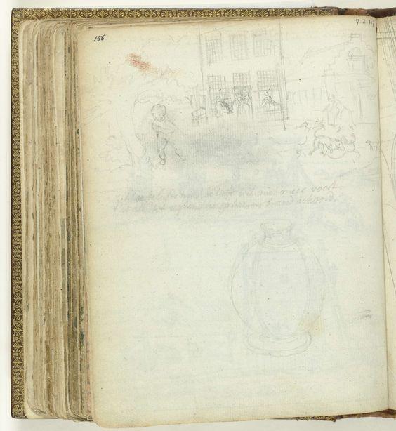 Jan Brandes   Kind voor een huis. Een pot., Jan Brandes, 1770 - 1808   Potloodschetsen van een kind naast een boom voor een plein met huizen. Een pot. Met opschrift. Onderdeel uit het schetsboek van Jan Brandes, dl. 2 (1808), p. 156.