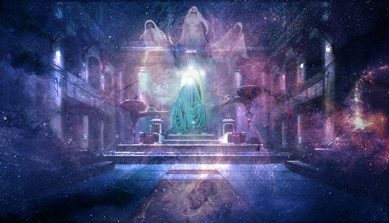 Eru/Iluvatar in his timeless palace with the spirits of the Ainur: Manwe, Varda and Melkor.