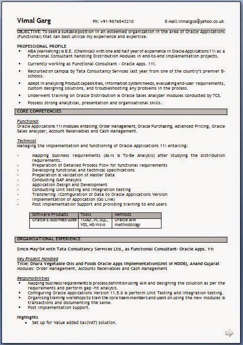 how to write an cv Sample Template Example ofExcellent CV \/ Resume - oracle functional consultant resume