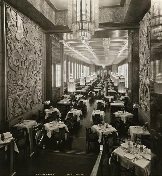 """SS Normandie Dining Room...all Lalique, Christofle, and Haviland...who says the French can't do it right...""""the most beautiful ship in the world..."""""""