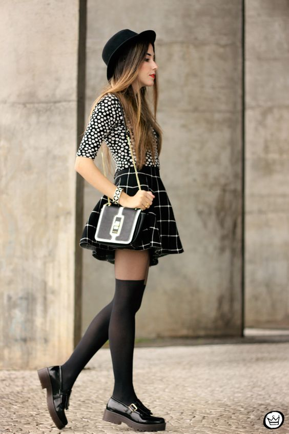 FashionCoolture - 26.05.2015 look du jour Black and white outfit polka dots top plaid skirt (3):