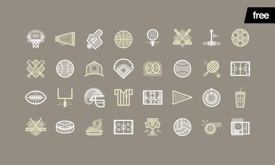 Sports Icons - 32 Free Vectors