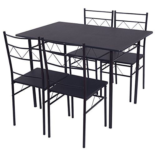 Shining Dining Table Set 4 Chairs Wood Metal Kitchen Breakfast
