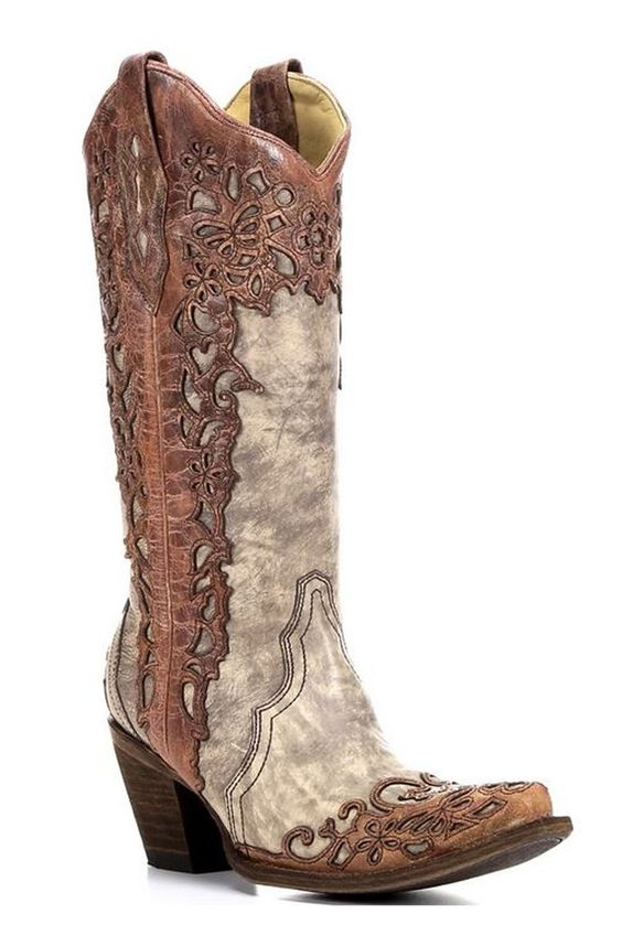 Amazon.com: Corral Ladies Laser Overlay Boots - Sand/Cognac: Shoes