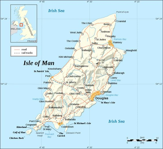 Detailed map of the Isle of Man