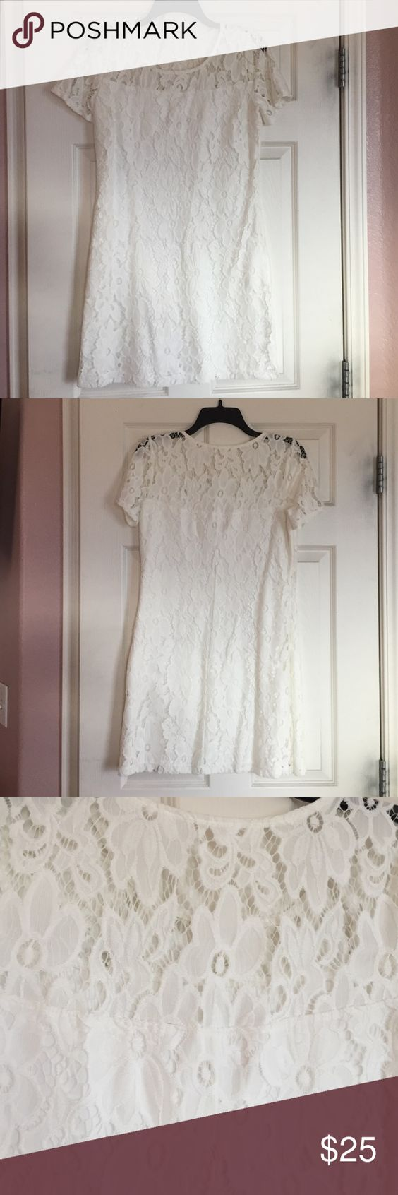 White Lace Dress Perfect condition, only work once! Ends a few inches above the knee Hollister Dresses Midi
