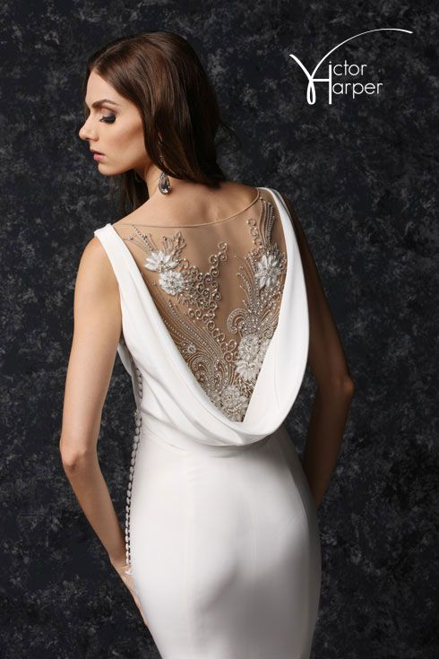 Bateau Neck with Cowl Beaded Illusion Back Fit and Flare Wedding Gown with Side button detai