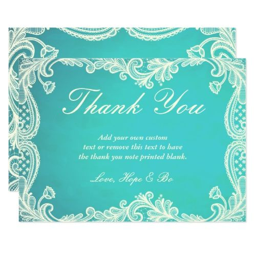 Blue Turquoise Vintage Floral Damask Butterfly Personalized Wedding Thank You.