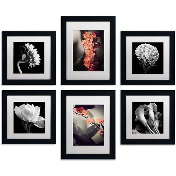 6-piece ''Floral Gallery'' Wall Art Set (€82) ❤ liked on Polyvore featuring home, home decor, wall art, quadro, borders, picture frame, floral home decor, acrylic wall art, horizontal wall art and floral wall art