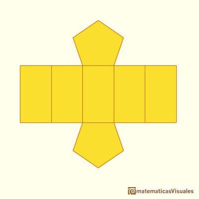 Prismas y sus desarrollos planos: el desarrollo plano de un prisma pentagonal   matematicasVisuales