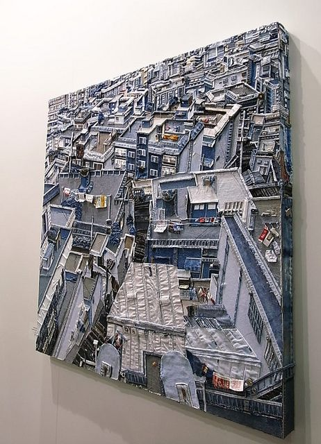 Amazing work! the artwork is made of denim fabric!