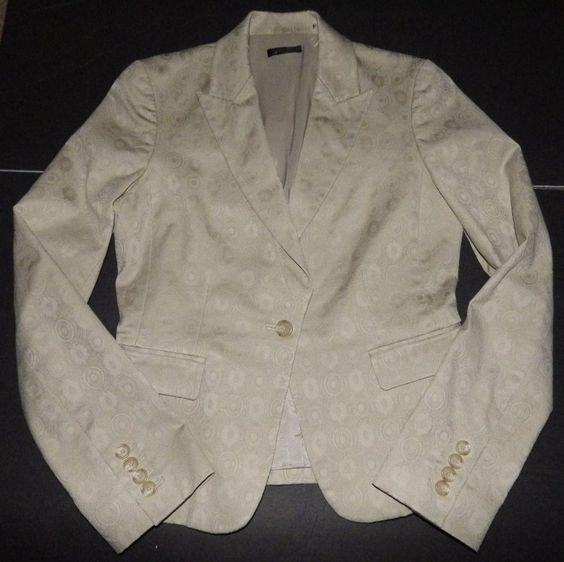 Tahari Blazer 4 Beige Circular Pattern Geometric Career Jacket Coat Stretch  #Tahari #Blazer