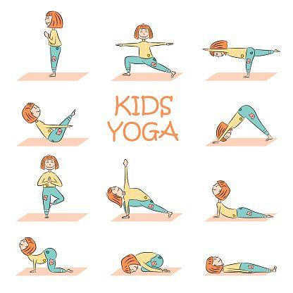 Kids Yoga Set With Cute Cartoon Girl In Different Yoga Poses Flat Yoga For Kids Yoga Cartoon Illustration Art Kids