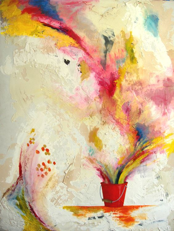 The Red Bucket. Bucket of Beauty. Bucket of Flowers. 100 colours to see before you die.  The artists bucket list. Color Bomb.  Mixed Media Size 914mm x 1210mm  www.aliceboyle.co.uk www.facebook.com/artistaliceboyle #painting #abstractart #texture #aliceboyle #bucket #colour