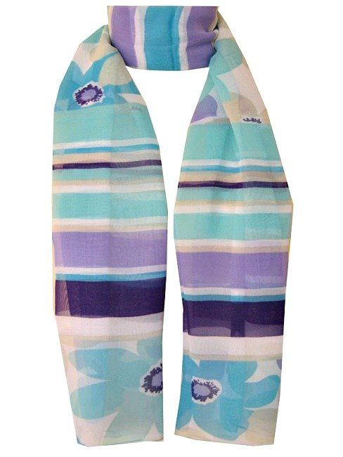 Silk Mix Turquoise and lilac long scarf from Pretty and Witty. - Pretty & Witty