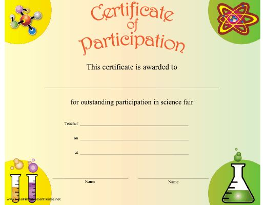 A certificate of participation to be present to any student who – Free Certificate of Participation Template