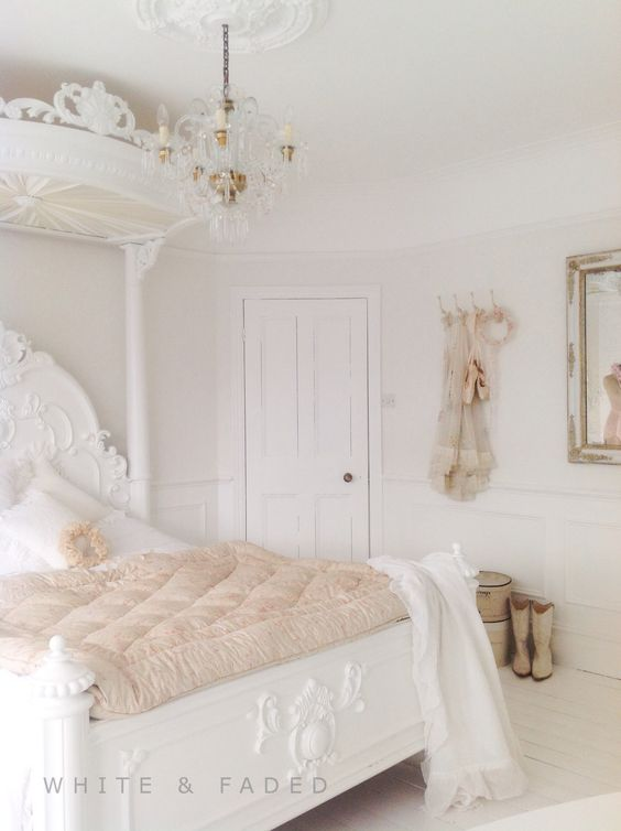 Gorgeous White Bedroom With Pale Blush Accent Colors