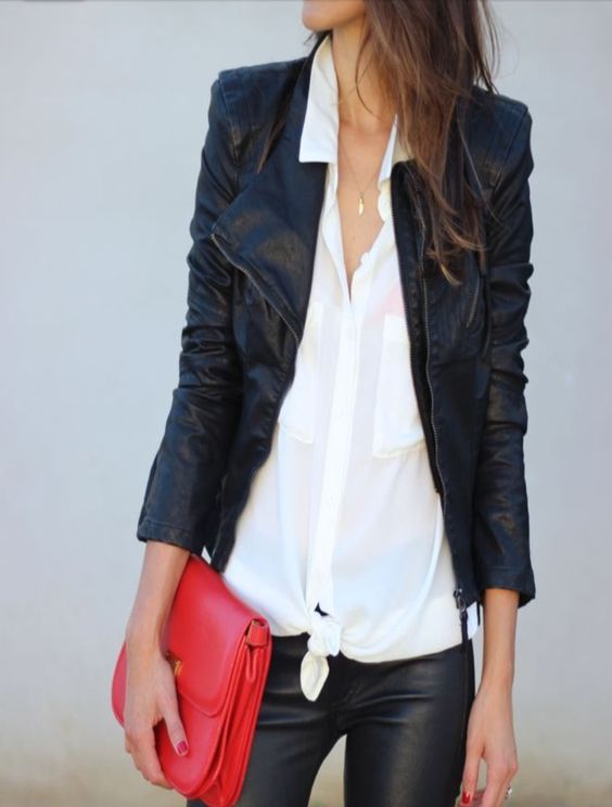 Love the leather jacket and tie blouse