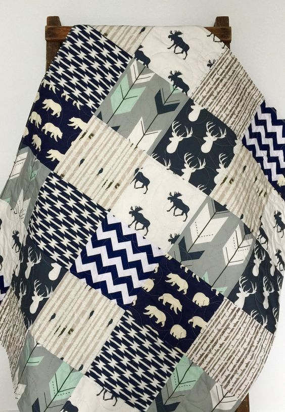 Baby Quilt, Boy, Moose, Bow and Arrow, Stag, Woodland,Birch Forest, Deer, Navy, Mint, Gray, Modern,Crib Bedding, Baby Bedding, Children: