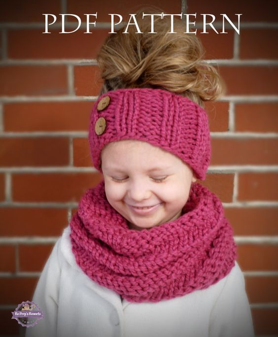 INSTANT DOWNLOAD Knitting PATTERN Spiral Cowl and Headband (Toddler, Child, A...