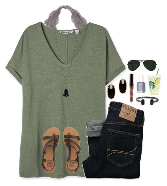 """it's 12am"" by jazmintorres1 ❤ liked on Polyvore featuring Hollister Co., Billabong, Kendra Scott, Lauren Ralph Lauren, Essie and Ray-Ban"