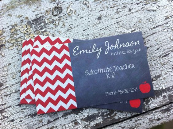 Substitute teacher business cards // PRINTABLE
