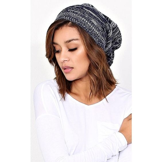 Winter Vibes Slouchy Knit Beanie ($6.99) ❤ liked on Polyvore featuring accessories, hats, navy, knit hats, slouchy hat, knit slouch hat, navy blue hat and slouch hat