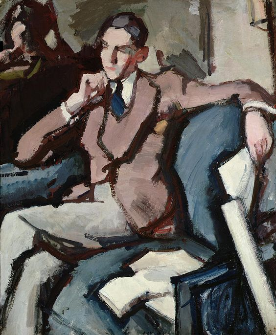 Portrait of Willie Peploe (1930). Samuel John Peploe (Scottish, 1871-1935). Oil on canvas. During the 1910's in Paris, Peploe moved from an impressionist style to one influenced by Cézanne and the Fauves, but later his work became less aggressively modern. In the 1920s he frequently visited the island of Iona, which—together with still-life—was his favourite subject.