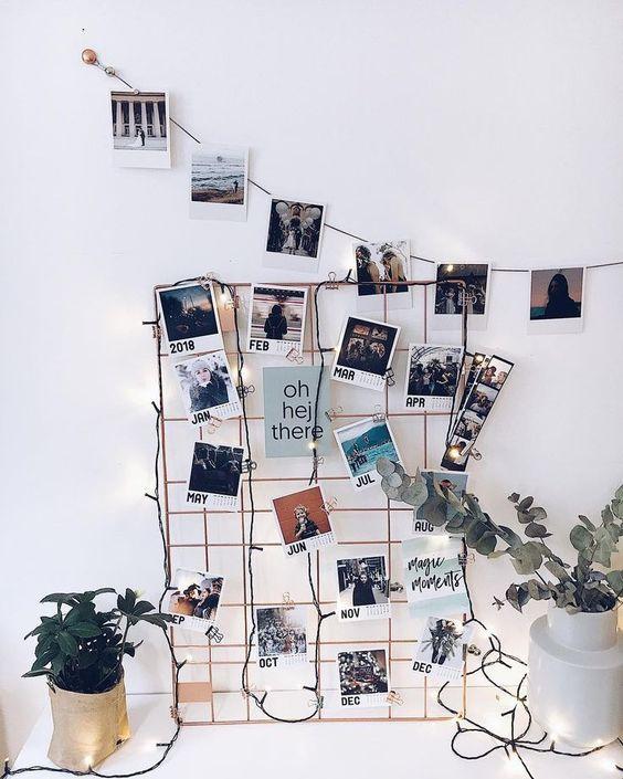 Wandgitter mit Clips zum Dekorieren von Fotos, in drei Farben erhältlich. Wall Grid, Fotogitter, Fotogitter zum selber machen, Fotogitter basteln