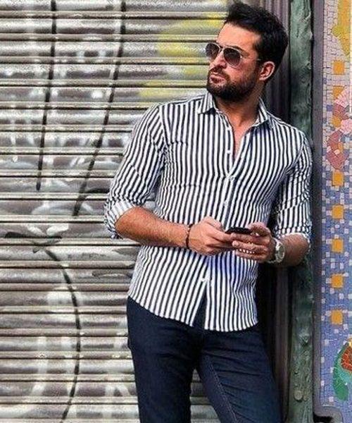 Camisa listrada com calça jeans