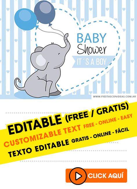 Invitaciones Baby Shower Gratis Para Personalizar Niño : invitaciones, shower, gratis, personalizar, niño, Shower, Elefantito, Invitaciones, Editables, Gratis, Elefantes,, Invitaciones,, Varón