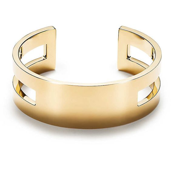 Out of Retirement Open Cuff (€6.630) ❤ liked on Polyvore featuring jewelry, bracelets, yellow gold jewelry, 18k jewelry, tiffany co jewellery, 18k gold bangle and 18k gold jewellery