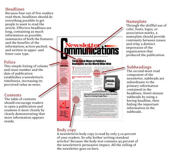 Parts Of A Newsletter  Newsletter Layout  Design Tips