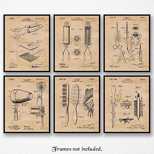 Hairdressers Salon Set Of 4 Patent Prints Unframed Poster Wall Art Decor