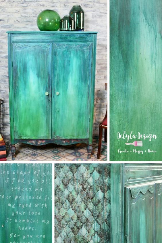 """Follow along as I give this neglected wardrobe a boho layered paint finish inspired by the movie """"The shape of water"""" Visit my blog for details about the products I used."""