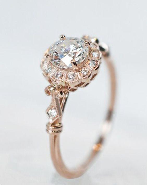 Pretty Vintage Rose Gold Diamond Wedding Engagement Rings Do It Antique Engagement Rings Vintage Wedding Rings Vintage Beautiful Wedding Rings