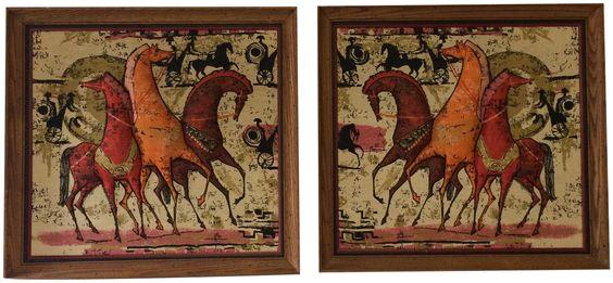 Mid Century Modern 3-D Fabric Framed Art on Chairish.com