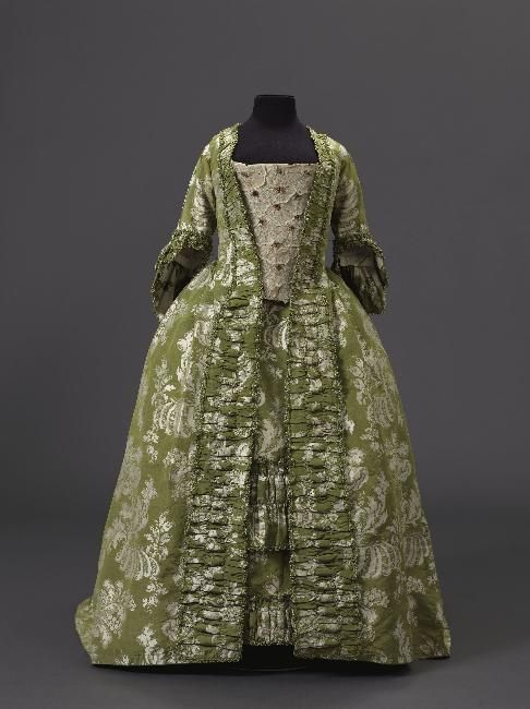 Robe à la française: ca. 1750-1760, French, silk damask taffeta, lined with linen, trimmed. Item Number GAL1958.86.1B.